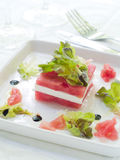 Appetizer from watermelon and feta Stock Image
