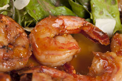 Appetizer with yummy shrimps Stock Images
