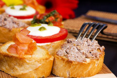 Appetizers. Closeup of different kinds of appetizers royalty free stock images