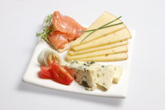 Appetizers. Plate with appetizers on isolated background Stock Image
