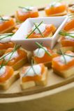 Appetizers. Delicious appetizers with smoked salmon and dill sauce stock photography