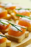 Appetizers. Delicious appetizers with smoked salmon and dill sauce royalty free stock images