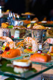 Appetizers. Display of luxurious seafood appetizers Stock Image
