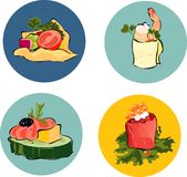 Appetizers. Illustration of four small appetizers (canapes Royalty Free Stock Image