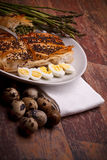 Appetizers - Asparagus In Crust With Quail Eggs Stock Photos