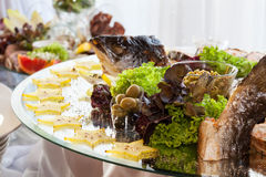 Appetizers on banquet table royalty free stock photos