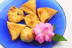 Appetizers on blue plate Stock Image
