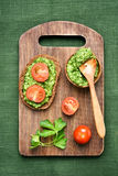 Appetizers bread with pesto sauce Royalty Free Stock Photo