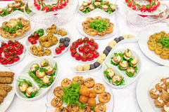 Appetizers. Bufet with different appetizers royalty free stock photos