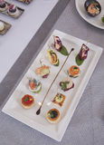 Appetizers canapes Royalty Free Stock Images