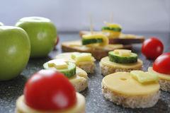 Appetizers with cheese and vegetables. Like canape royalty free stock image