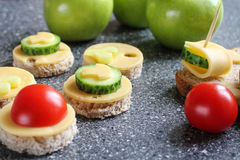 Appetizers with cheese and vegetables. Like canape royalty free stock images
