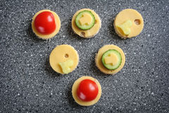 Appetizers with cheese and vegetables. Like canape royalty free stock photo
