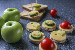 Appetizers with cheese and vegetables. Like canape stock photography