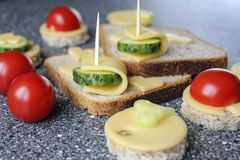 Appetizers with cheese and vegetables. Like canape stock photos