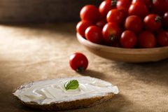 Appetizers with cream cheese Royalty Free Stock Image