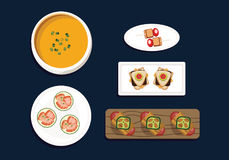 Appetizers Flat Vector on dark background. White plates, soup, wood platter Royalty Free Stock Photo