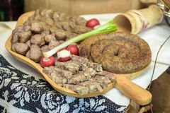 Appetizers with greaves, sausages, specialty pork Stock Photography