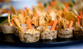 Appetizers Hummus wraps, Vegetables party Royalty Free Stock Images