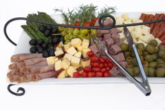 Appetizers, isolated. Tray of appetizers on a tray, isolated over white Stock Photos