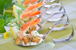 Appetizers with king prawns Royalty Free Stock Photo
