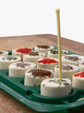 Appetizers made of white cheese. Close up of a group of Snacks made of white cheese Royalty Free Stock Photo