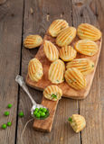Appetizers Madeleine with green peas Stock Photography