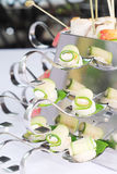 Appetizers  on party spoons Royalty Free Stock Photography
