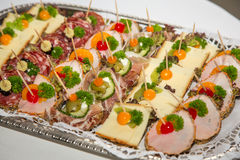 Appetizers on a plate at buffet Stock Image