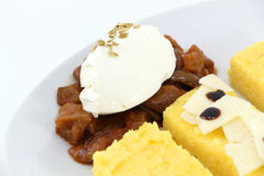 Appetizers with polenta, caponata, parmigiano Royalty Free Stock Photos