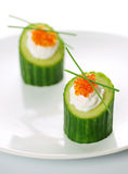 Appetizers with red caviar Stock Photo