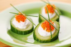 Appetizers with red caviar Royalty Free Stock Photos