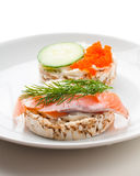 Appetizers with red fish and red caviar Stock Photos