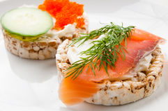 Appetizers with red fish and red caviar Royalty Free Stock Photography