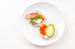 Appetizers with red fish and red caviar Royalty Free Stock Image