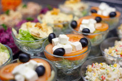 Appetizers on restaurant display Royalty Free Stock Image