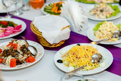 Appetizers and salads at the banquet table Royalty Free Stock Photography