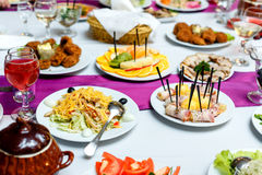 Appetizers and salads at the banquet table Royalty Free Stock Photo