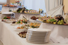 Appetizers and salads on buffet. Appetizers and salads on luxury wedding buffet Royalty Free Stock Photos