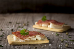 Appetizers with salami and cheese Royalty Free Stock Images