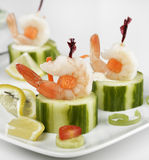 Appetizers With Shrimps Stock Photo