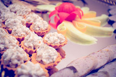 Appetizers on Silver Platter Stock Photos