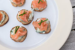Appetizers with smoked salmon Stock Photography