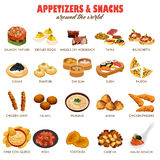 Appetizers and Snacks Icons. A vector illustration of appetizers and snacks around the world icon sets Stock Photos