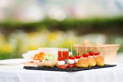 Appetizers on some festive event. Party or wedding reception Stock Image