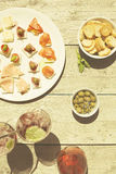 Appetizers on a summer day with wine Stock Images