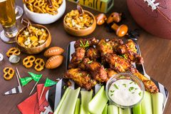 Football party. Appetizers on the table for the football party stock photography