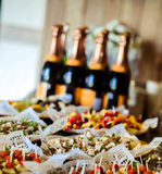 Appetizers. Table with appetizers for guests reception Royalty Free Stock Photography