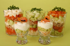 Appetizers, verrines of salmon Stock Photos