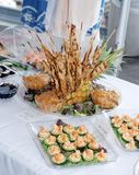 Appetizers at a wedding. royalty free stock images